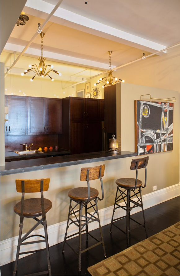 Vintage Barstools in a Chelsea Loft Barry Goralnick Architecture Design, Industiral Chic